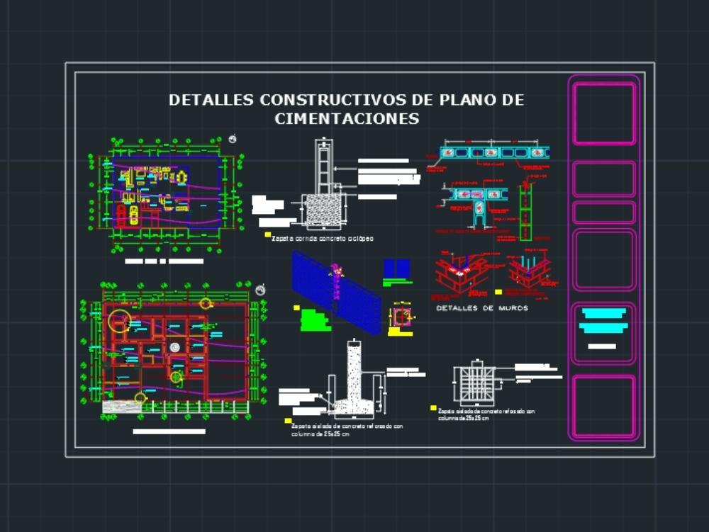 Detalles constructivos de plano de cimentación