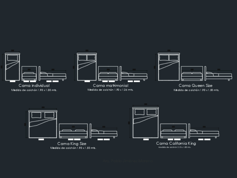 Beds in different views and standard sizes