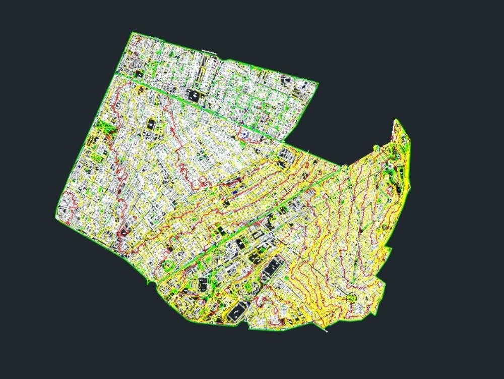 Topographic map marscal quito ecuador