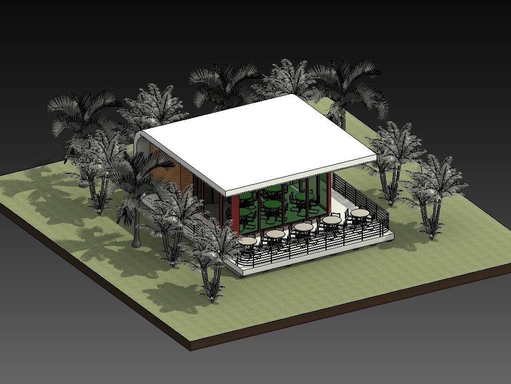 3d modeling cafeteria at revit 2020