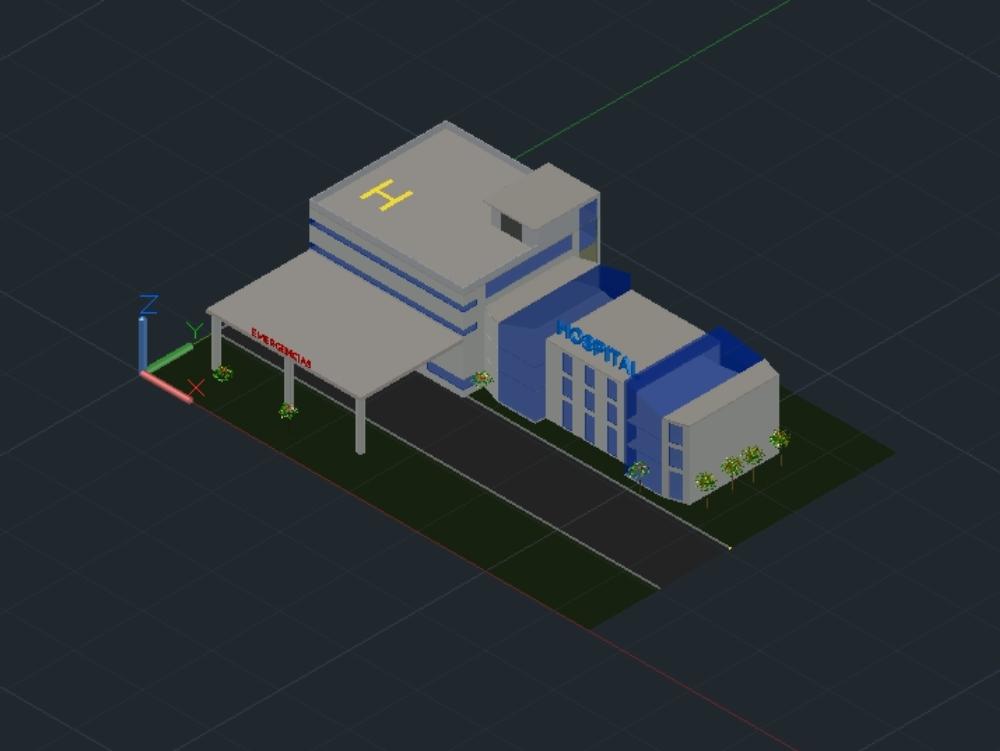 Hospital modelo 3d proyecto basico