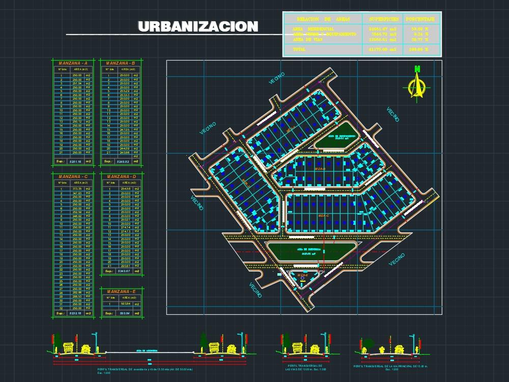 Planimetría de una urbanización; de mas de 4 hectareas