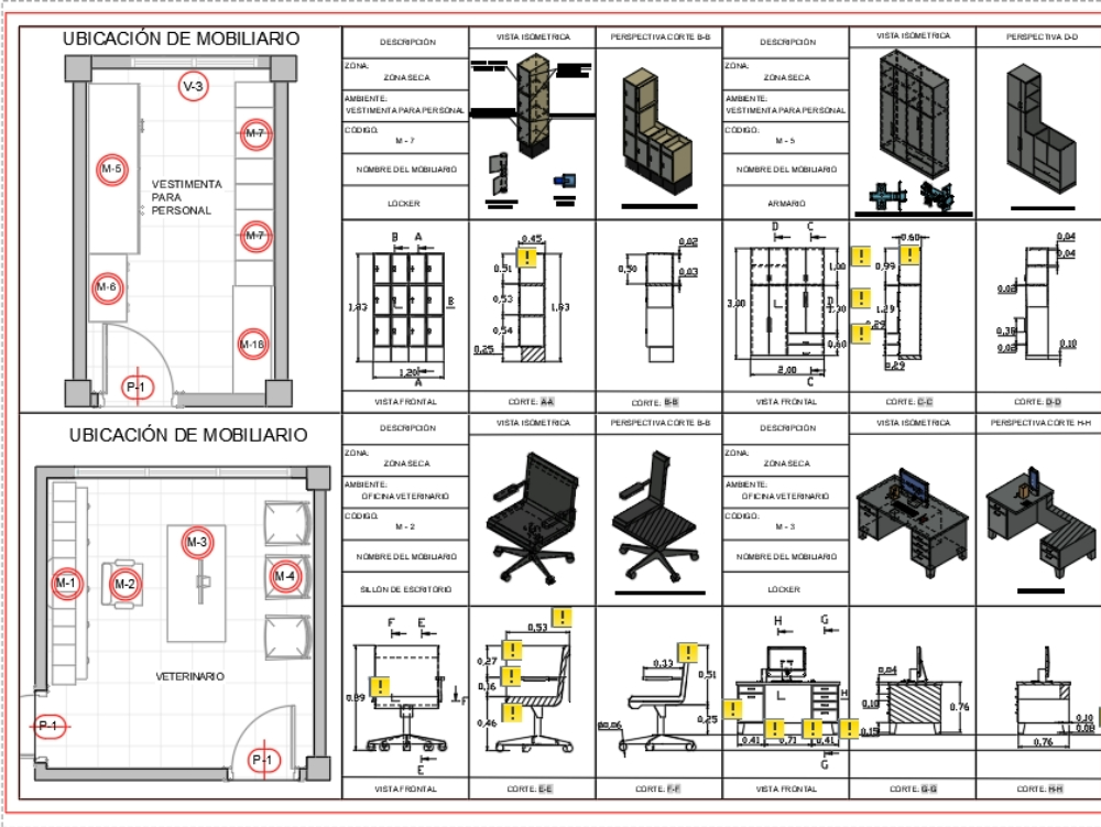 Details of furniture for internal environments autocad 3d