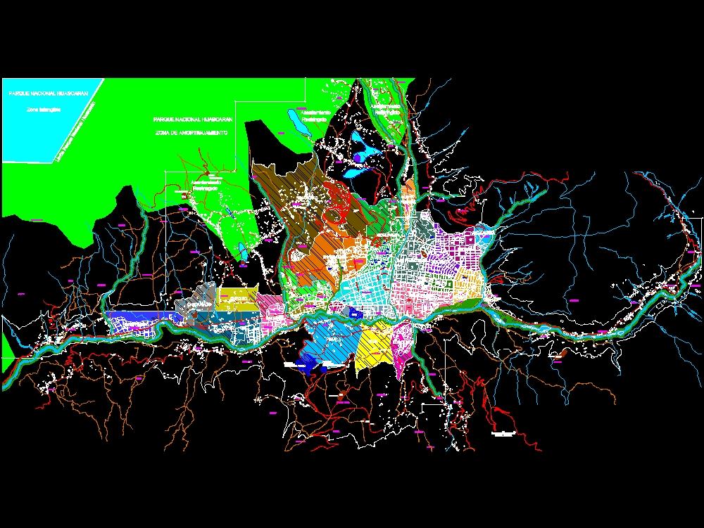 Urban plan of the city of Huaraz