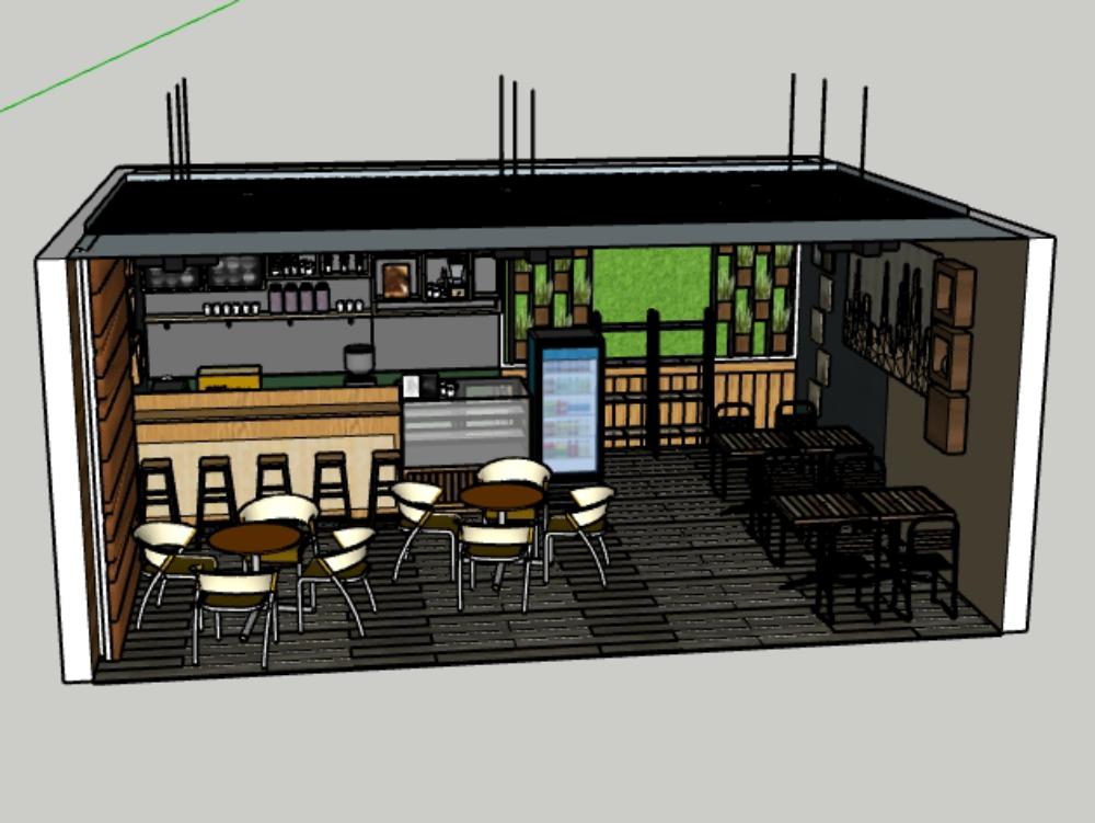 Coffee shop interior sketch up file