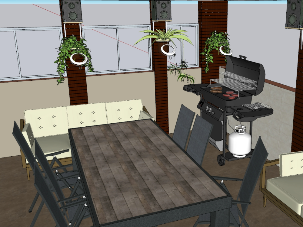 Terrace with barbecue area and weeping wall