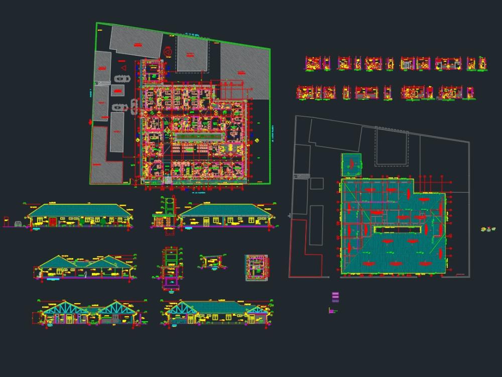 Plano de hospital para el curso de arquitectura