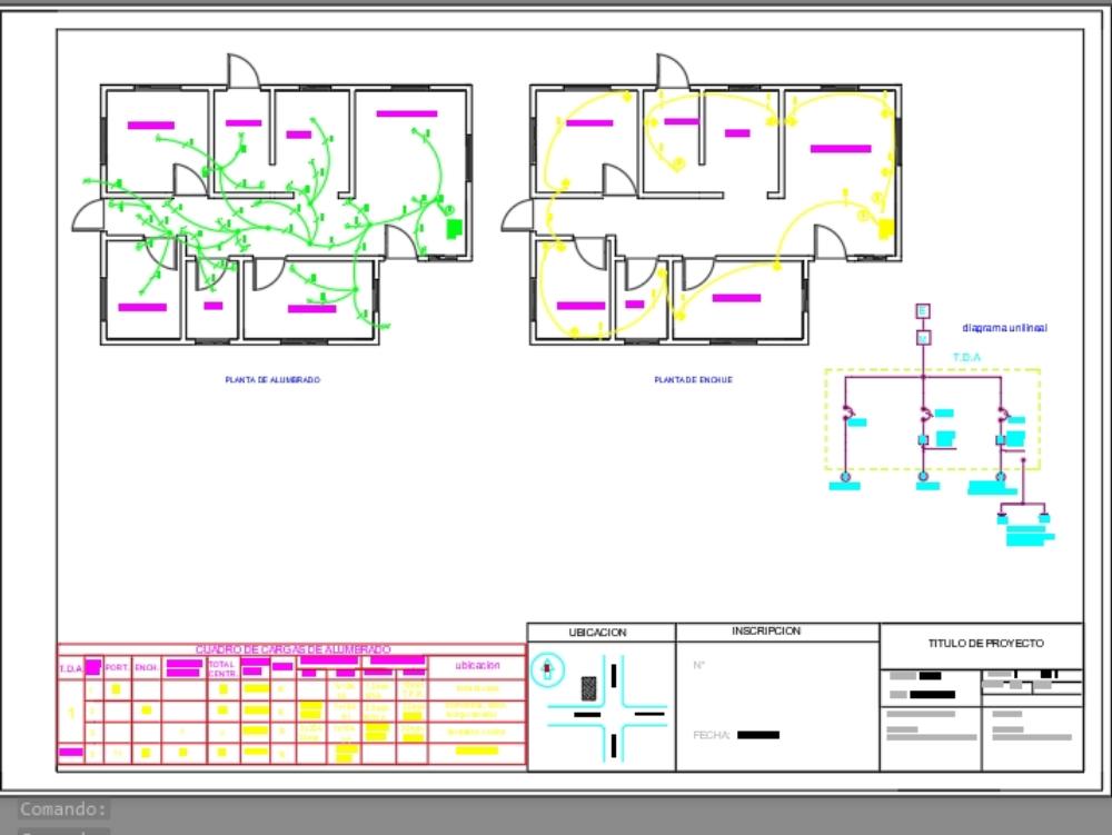 Casa 70m2 plano de instalación eléctrica