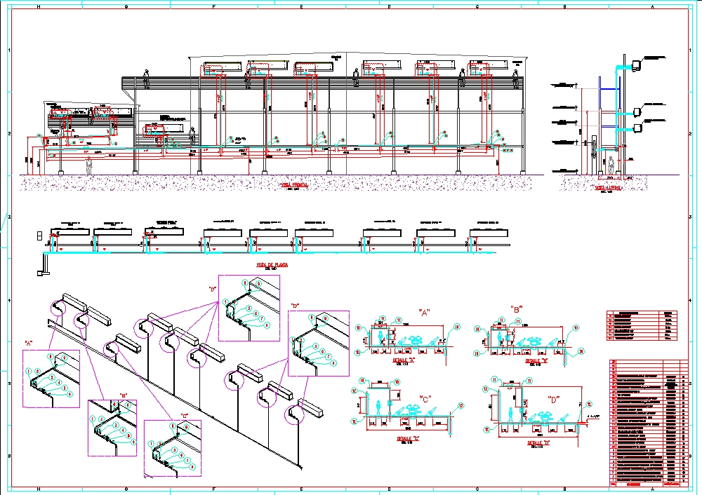 Isometric suction line piping of freezing chamber equipment