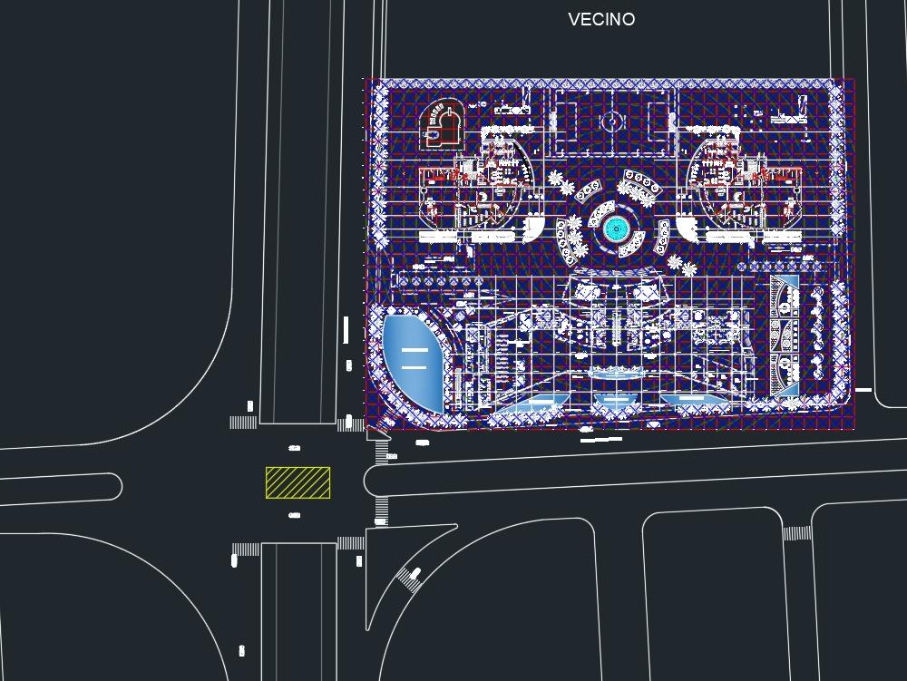 Urban shopping center design.