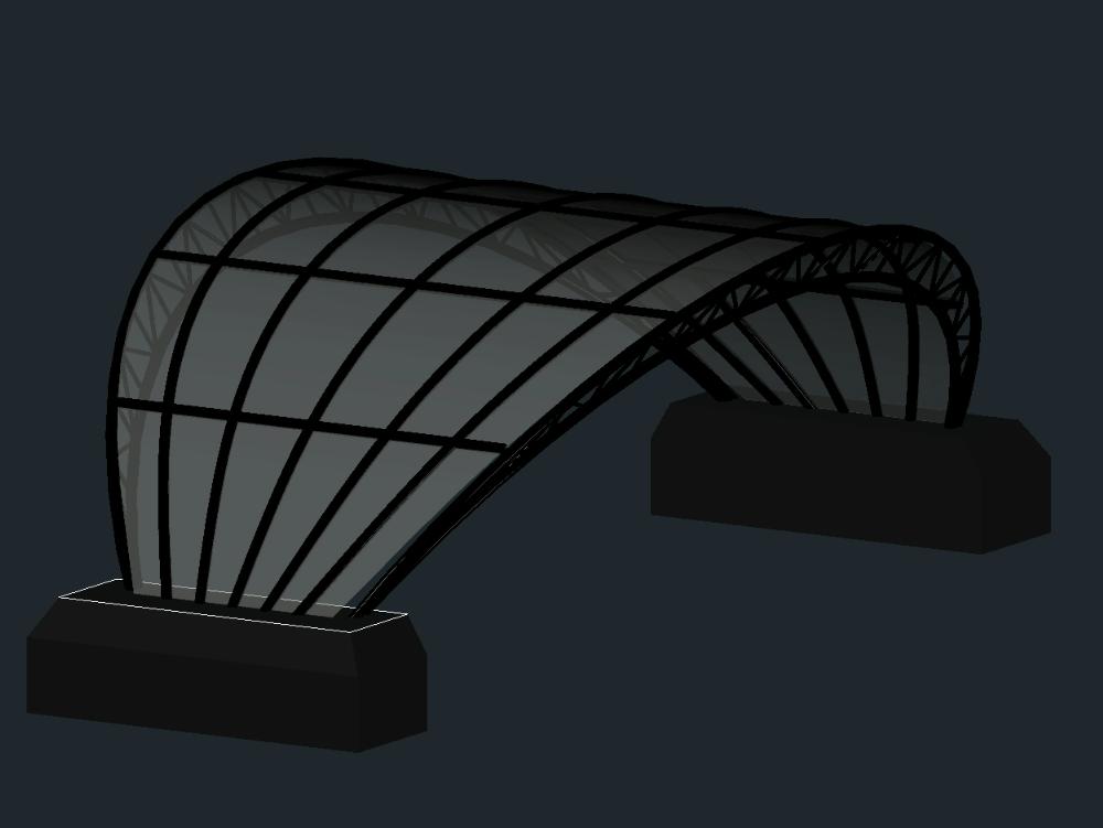 Metal parabolic roof 3d autocad