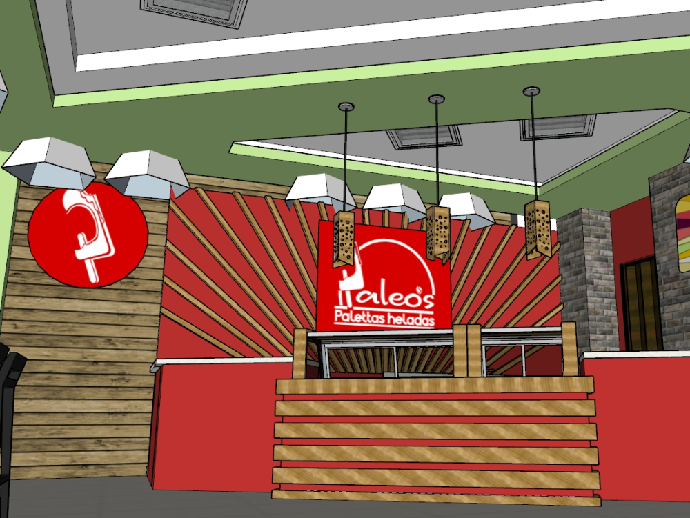 Ice cream parlor 3d model in sketchup 2015