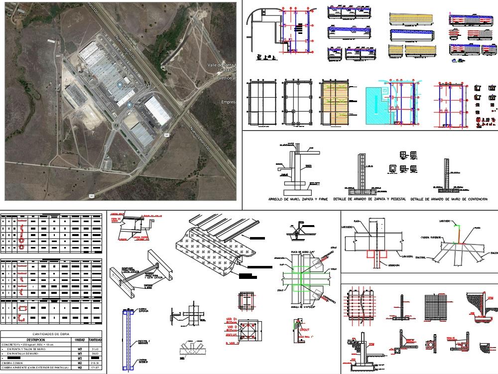 Plantas y detalles estructurales.