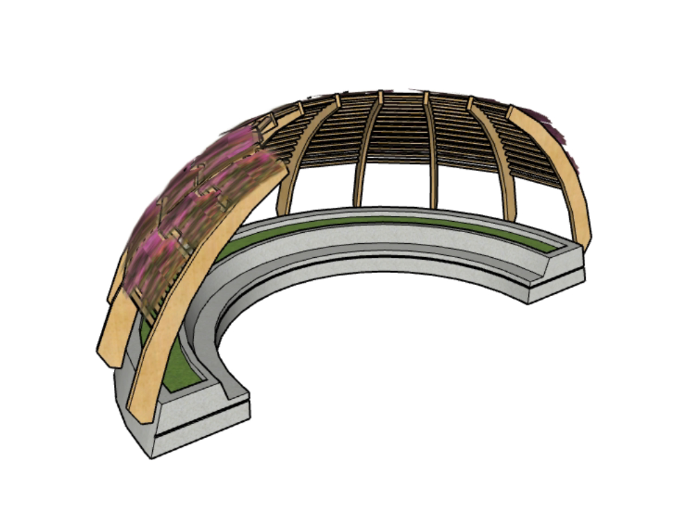 Circular wooden pergola with steps.