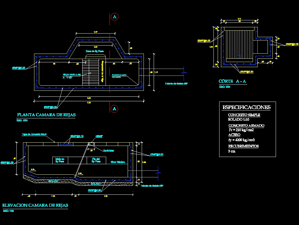Grating chamber plan with details