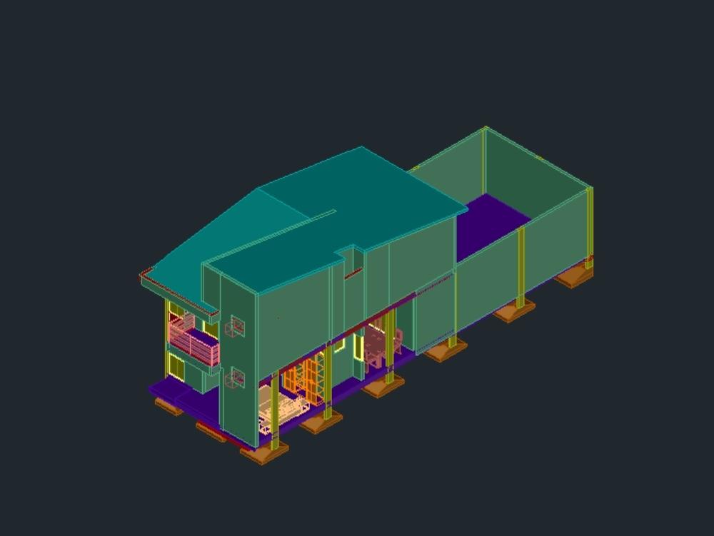 Isometrisches 3D-Hausmodell auf zwei Etagen