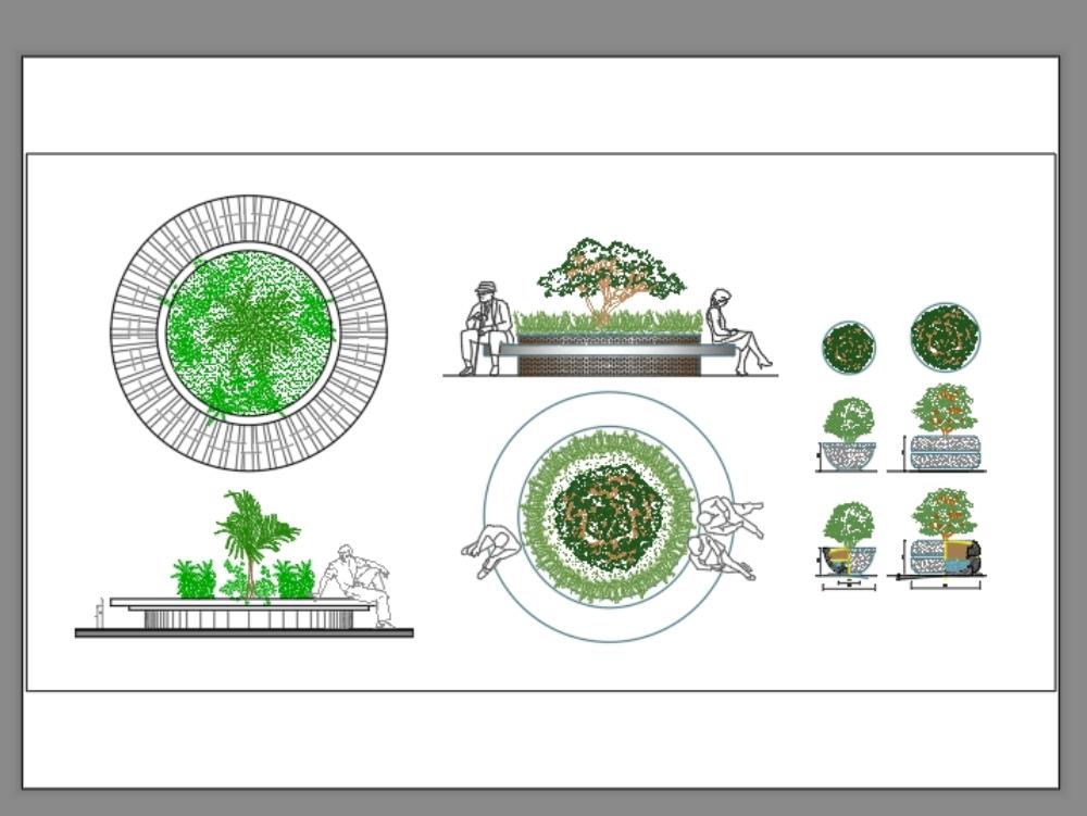 Kreisförmiger Platz mit Bäumen und Menschen