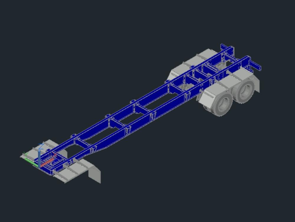 Komplettes LKW-Chassis in drei Dimensionen