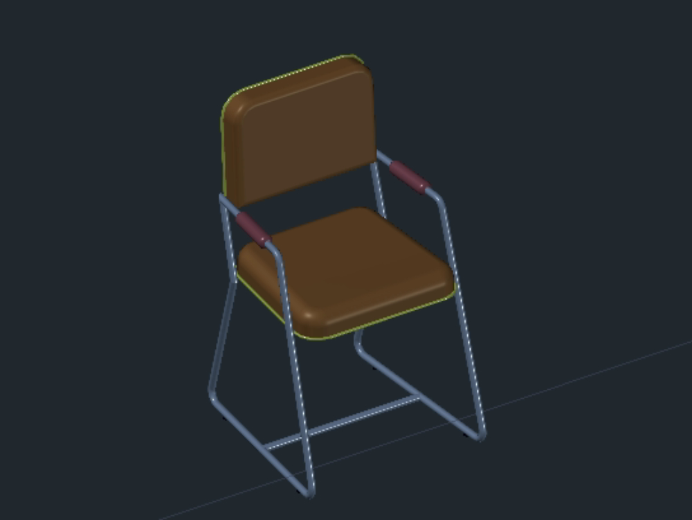 Chair in three dimensions drawn to scale