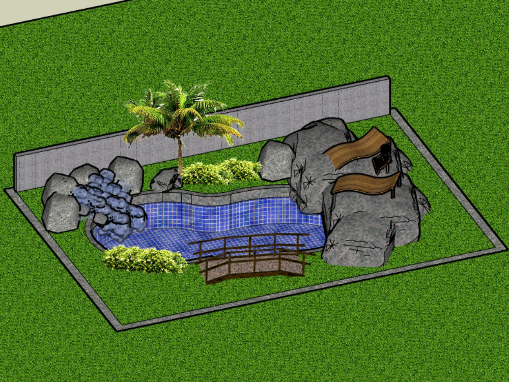 Pool project in 3d with setting