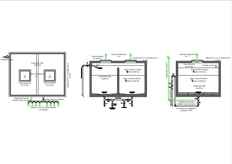 10.000 litros tanque de agua medidas planta tanque con bombas