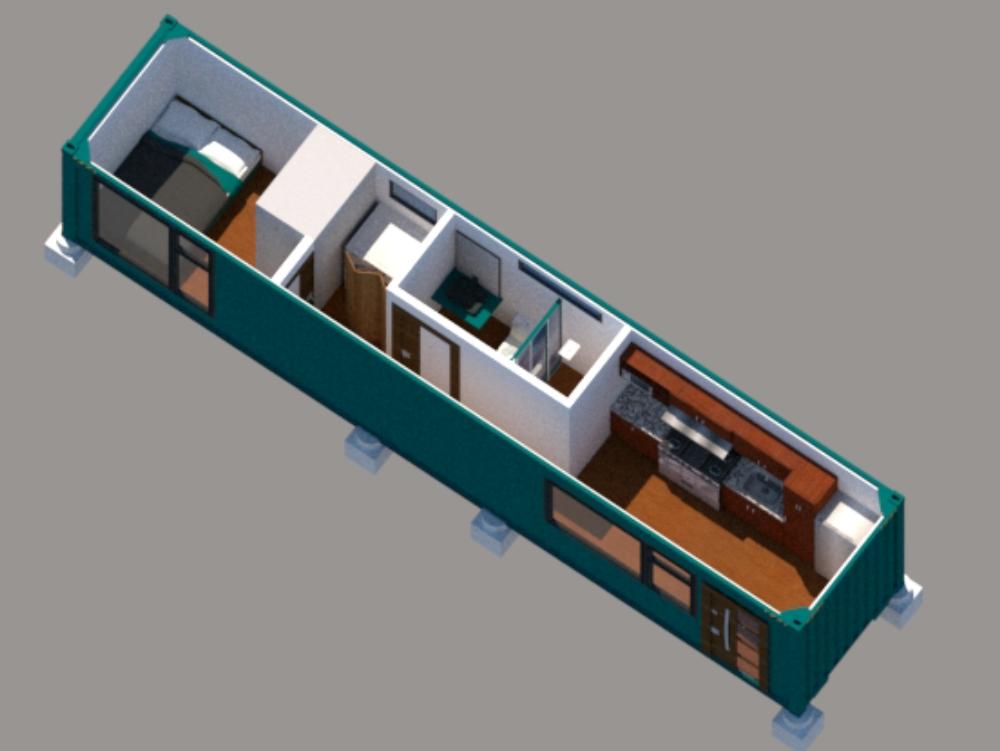 Casa-container 40 pies x 8 pies de ancho