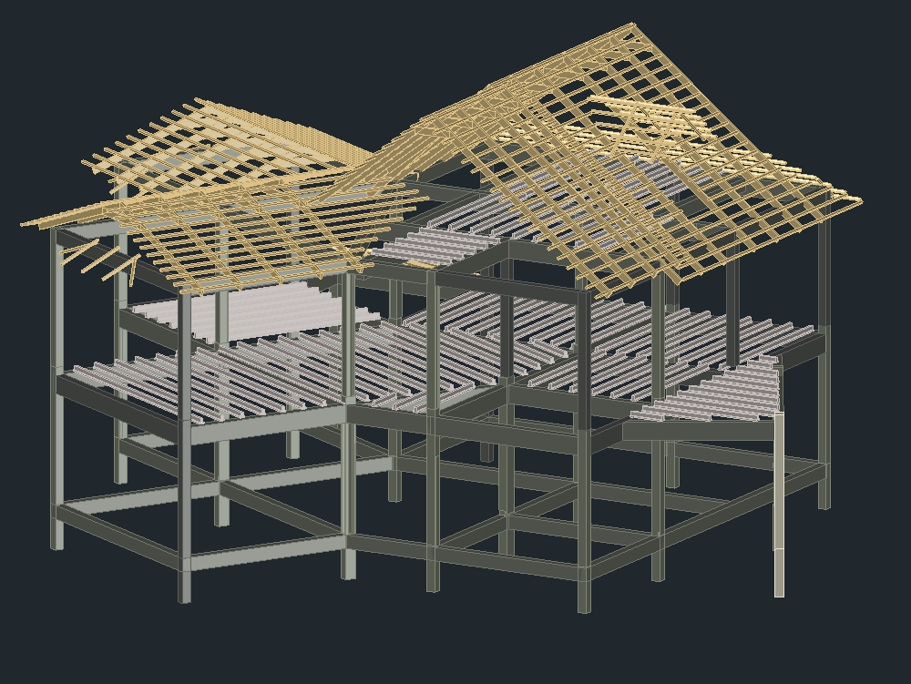 Beam portico; columns; joists and truss