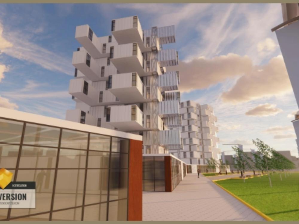 3 torres de oficinas emplazado en contenedores normalizados