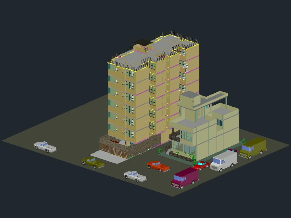 Modelado 3d en autocad de viviendas