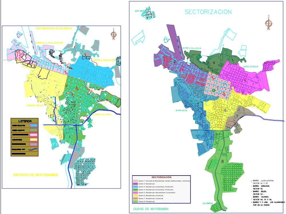 Mapa de los barrios en la ciudad de moyobamba