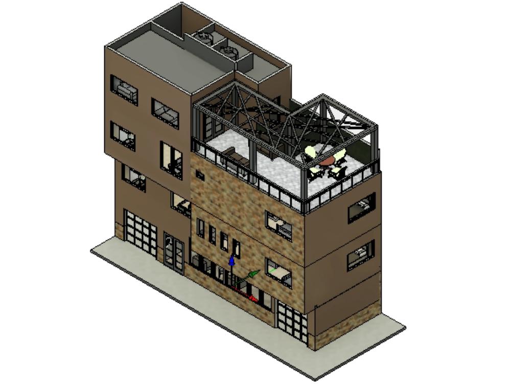Revit model duplex house with roof garden