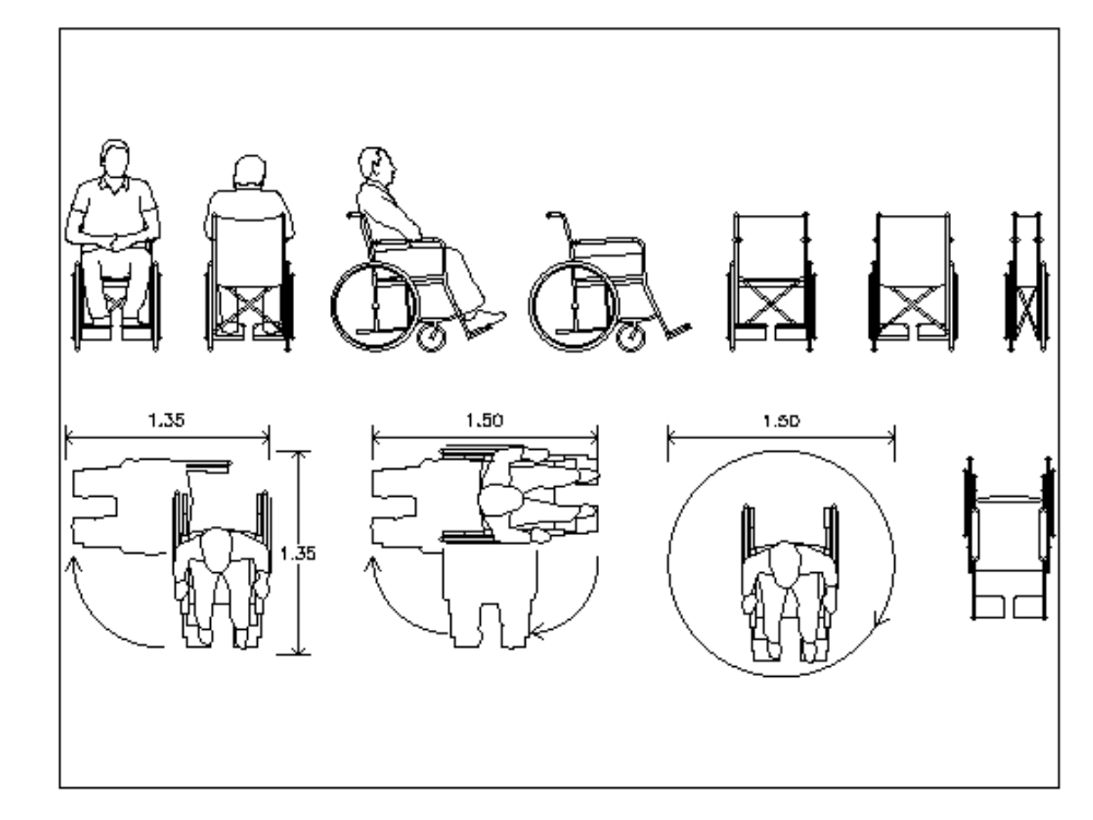 Wheelchair in elevation; plant and cut