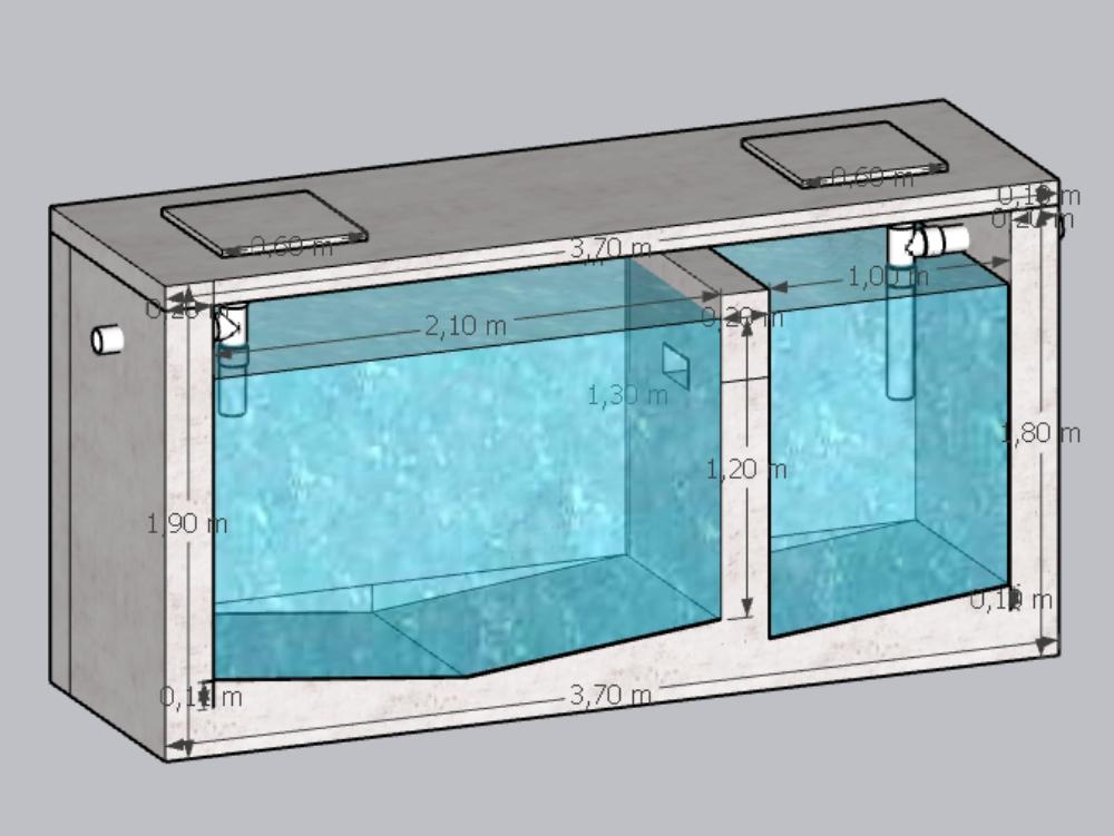 Design einer septischen Kammer im Hochland