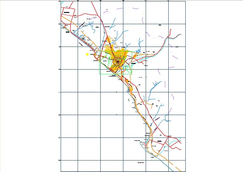Planificación urbana de trujillo con vias y muralla.