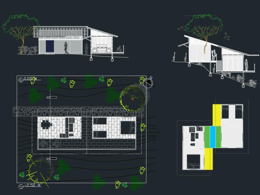Modular rural house various combinations.