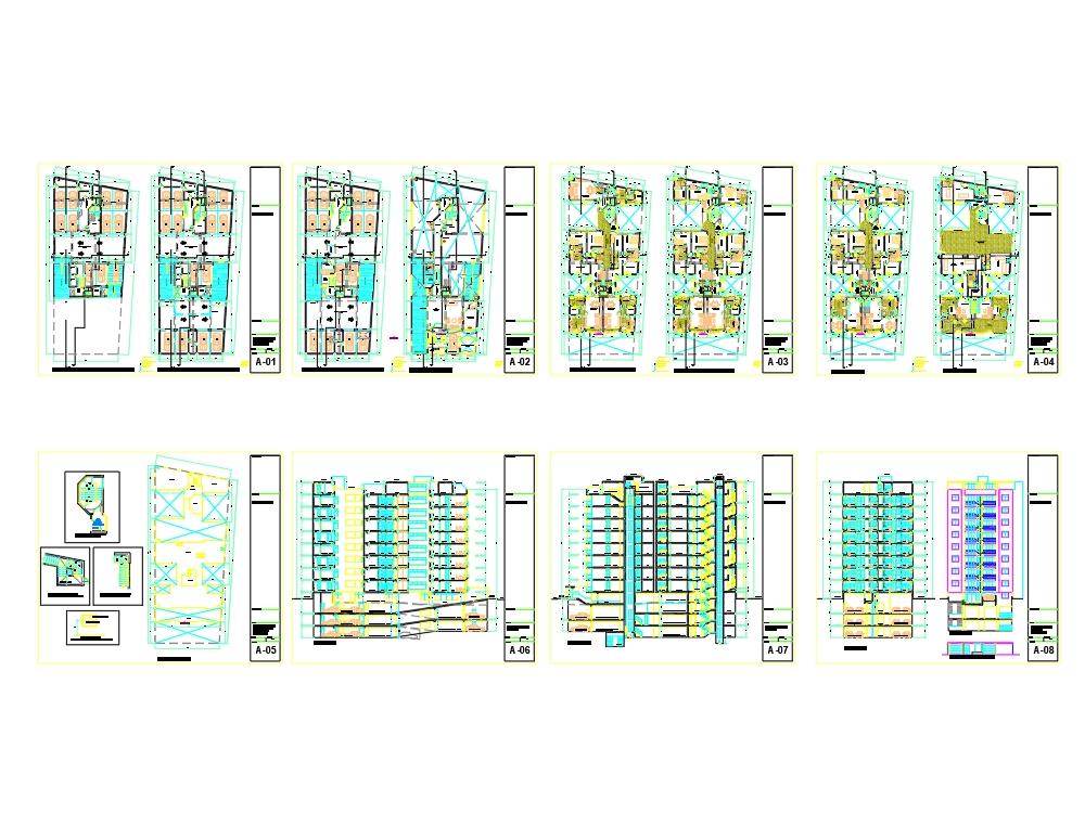 Vivienda de 9 niveles con planos detallados