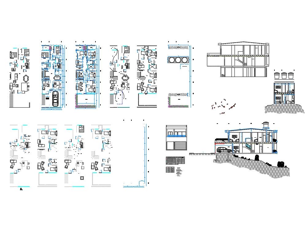 Set of 3 floor house plans