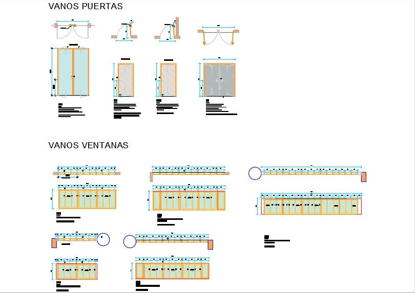 Plano de vanos y detalle materiales