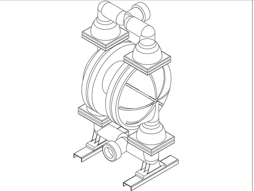 Isometrico bomba diafragma 2 camaras