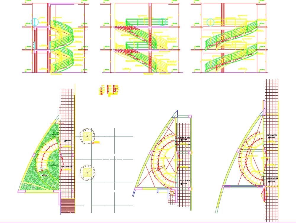 Planta cortes elevaciones y detalles de escalera helicoidal