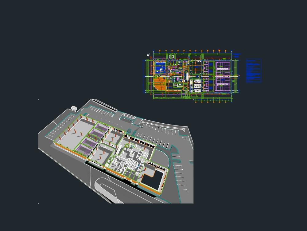 Plano arquitectonico de un gimnasio