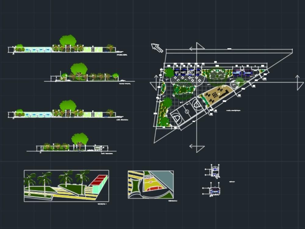 Parque infantil con diseño triangular