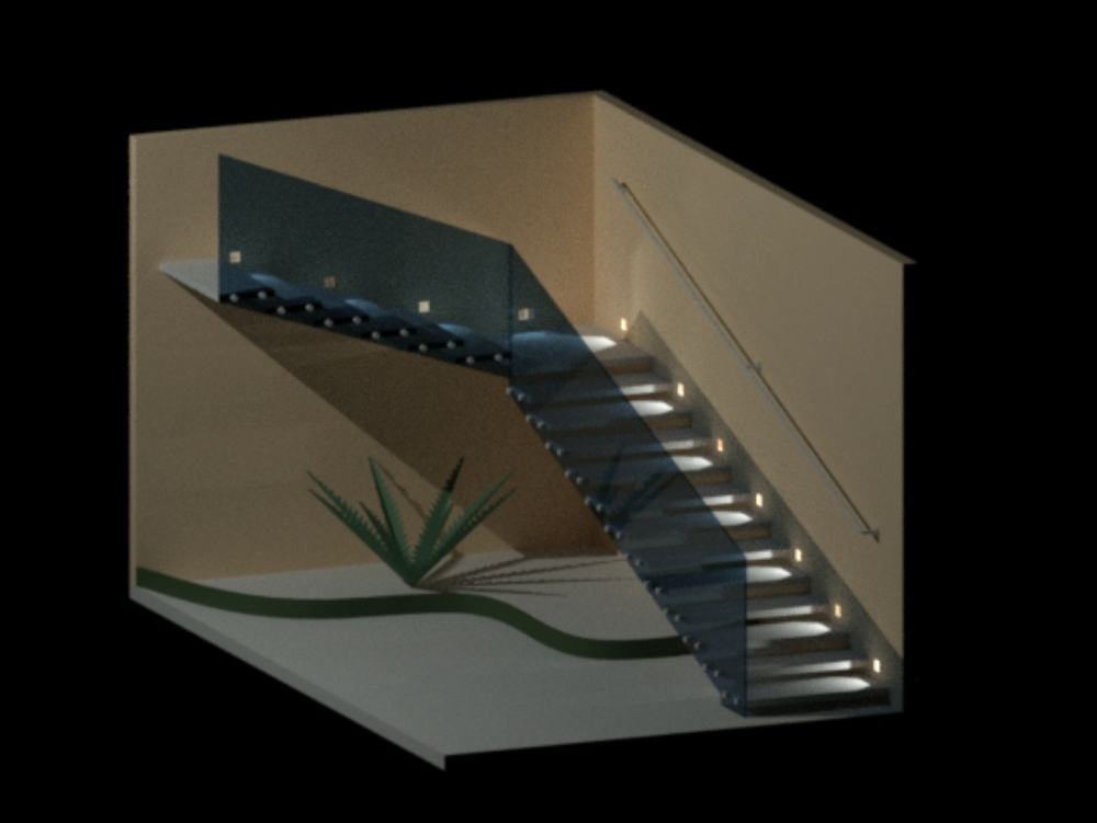 Escalera empotrada en muro en 3d