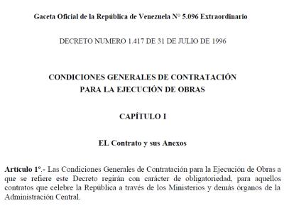 GENERAL TERMS AND CONDITIONS FOR THE EXECUTION OF WORKS