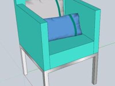 3D armchair with cushions