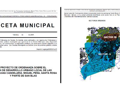 Ordinance on the Local Urban Development Plan of the Candelaria parish; Miguel Pea; Part of Santa Rosa and San Blas