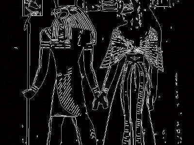 The Egyptian god Horus and Queen Nefertari