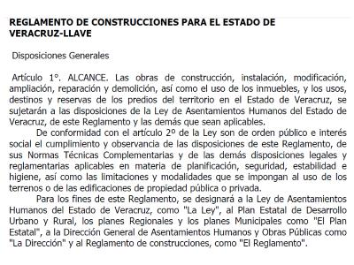 Construction regulations for the state of Veracruz