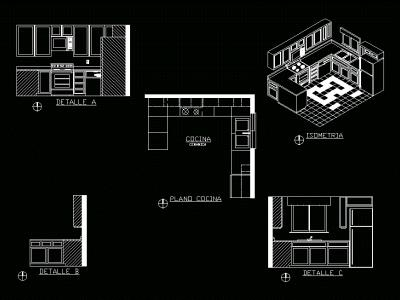 Kitchen; elevation; isometric