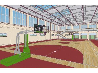 Detailed multipurpose basketball gym building